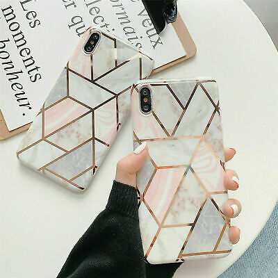 Marble Glitter Geometric Phone Back Case Soft Silicone Cover for iPhone 7 8 X XR