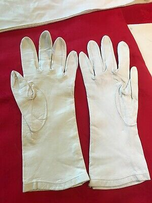 Lovely Pair Vintage Cream Leather Driving Gloves Small Size 7 Classic Car VGC