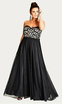Size 22 and 24 RRP $159 Ex EVANS City Chic Black Lace Contrast Maxi Dress