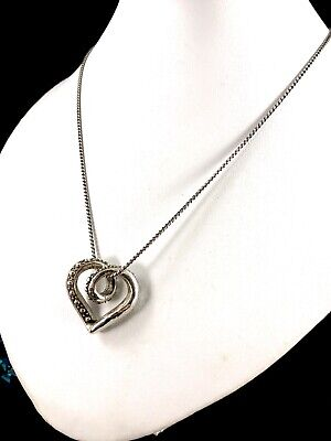 Wonderful Signed Brighton Silver Plated Chain Necklace Studded Heart Pendant