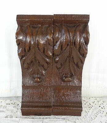 "8"" Pair of French Antique Carved Wood Corbel - Wall Shelf Decor - Oak Wood"
