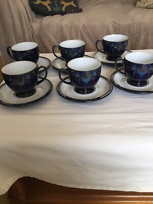 Denby Baroque Set of 6  Tea Cups and Saucers Excellent Condition