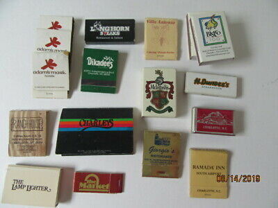 Vintage & new lot of 17 matchbook covers Charlotte NC restaurants some matches