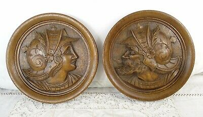 Antique French Hand Carved Oak Wood Pair Medallion Plaque Face Figure