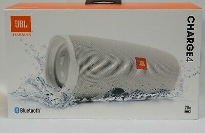 New JBL Charge 4 White Portable Bluetooth Speaker