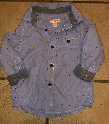 Blue Striped Button Up Front Dress Toddler Boys Long Sleeve Shirt 2T Cat & Jack