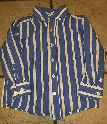 Blue White Striped Button Up Front Dress Toddler Boys Long Sleeve Shirt 24M 2T