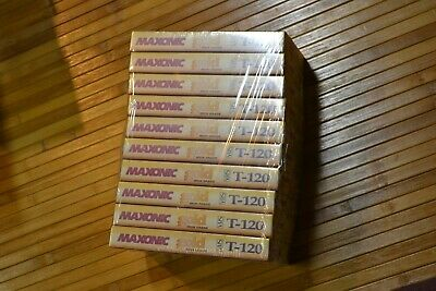 VHS Tapes 10 Blank High Grade Maxonic Gold T 120 EP 6 Hours Factory Sealed