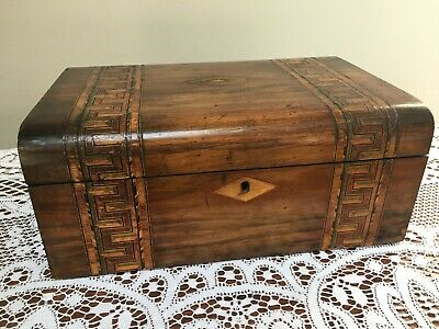 Antique Tunbridge ware wooden work box with lift-out tray