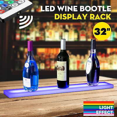 "32"" LED Lighted Back Bar Liquor Display Shelf Wine Bottle Stand Rack W/ 44Key RC"