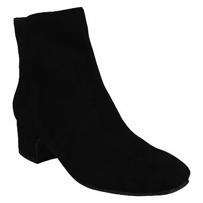 SPOT ON LADIES ZIP UP BLACK CASUAL WIDE FIT HEELED  WINTER ANKLE BOOTS F5R1086