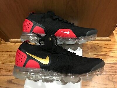 NIKE AIR VaporMax Flyknit 2 MEN Black Red Running Athletic Shoe100% Authentic