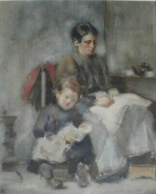 SUMMER SALE FINE LATE 19th EARLY 20TH CENTURY WATERCOLOUR MOTHER & CHILD SIGNED