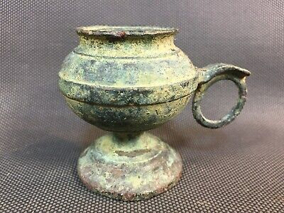 Very Antique Base Lamp Oil Brass or Bronze Item Digging Roman