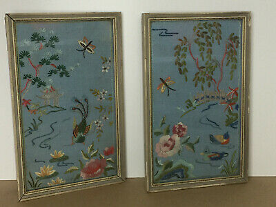 2 x Vintage Framed Cross Stitch Tapestry Picture Embroidered Japanese Style