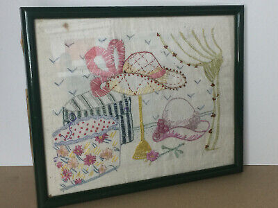 Vintage Framed Cross Stitch Tapestry Picture of Hats Embroidered