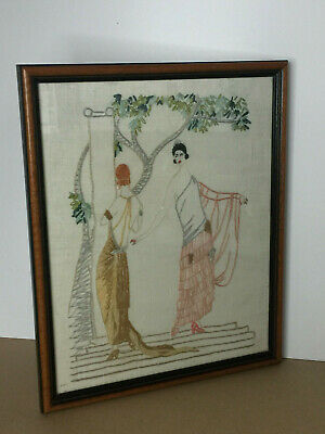 Vintage Framed Cross Stitch Tapestry Picture of 2 Women Embroidered