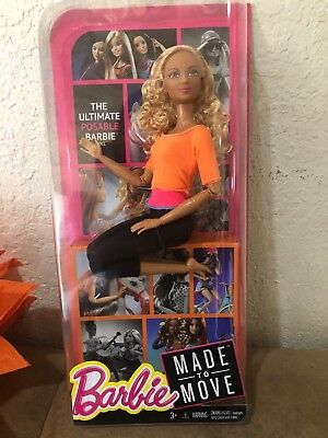 Barbie Made to Move Doll, Orange Top  Doll Beautiful Face  2015 DPP75
