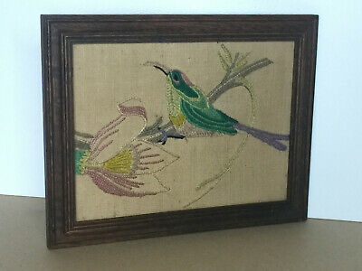 Vintage Framed Cross Stitch Tapestry Picture of Bird & Flowers Embroidered