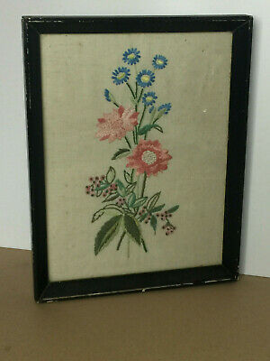 Vintage Framed Cross Stitch Tapestry Picture of Flowers Embroidered 22x28