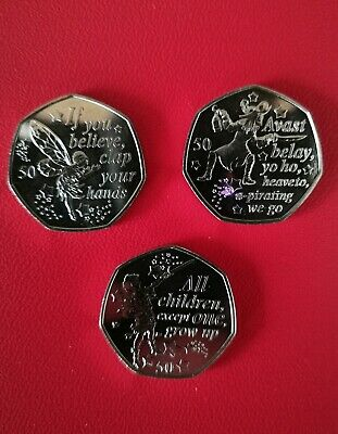 2019 Peter Pan, Captain Hook and Tinker Bell 50p Iom coins, New from sealed bag