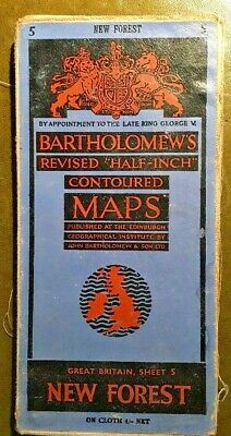 1950s Bartholomews Map New Forest No 5 Revised Half Inch Contoured