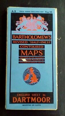 1950's Bartholomews Cloth Map of Dartmoor Revised Half Inch Contoured A.2 Eng 36