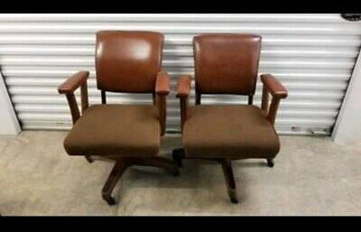 VINTAGE JASPER SEATING WOOD SWIVEL Bankers Lawyer Office Desk Chairs - Qty. 2