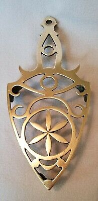 """Early 19th Century Brass Trivet For Iron Pierced Flower Decorated Footed 10-1/2"""""""