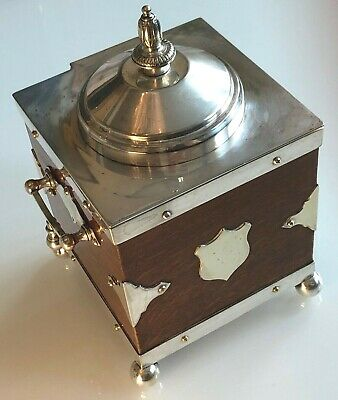 Antique C.1881 Rare Silver Plated & Oak Biscuit Box/Tea Caddy/Ice Bucket B&O'N