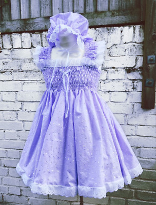 SALE Adult Baby Sissy Frilly Lilac Broderie Dress & Mop Cap set cosplay ABDL