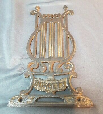 Antique(1894)Cast Iron Organ Part~Foot Pedal NamePlate Music Wall Decor BURDETT