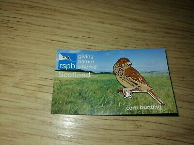 RSPB Corn Bunting Scotland Picture Card Giving Nature A Home Pin Badge