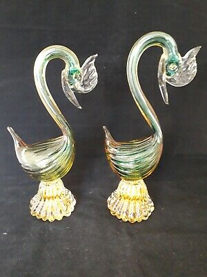 Stunning Pair of Vintage Murano Art Glass Cockerel/Chickens (10e)