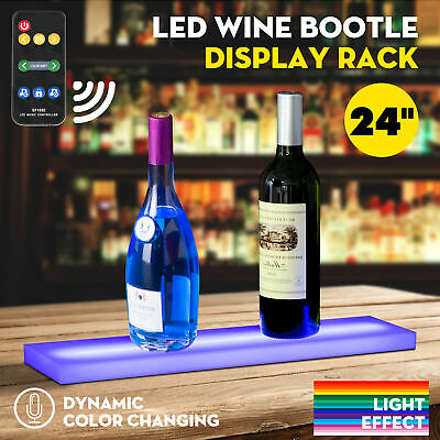 "24"" Music-Activated LED Lighted Bar Liquor Display Shelf Wine Bottle Stand Rack"