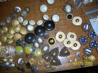 Button Lot 350+ Shank Button Covers all shapes & Sizes Metal Mixed Enamel