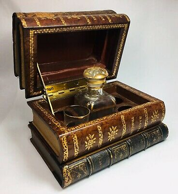 Antique Art Nouveau Victorian France Tantalus Glass Secret Leather Box Decanter