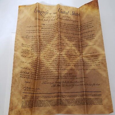 Vintage 1989 Reproduction Bill Of Rights On Genuine Aged Parchment Paper