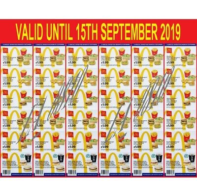 36 x MCDONALDS DEAL VOUCHERS COUPONS - VALID UNTIL 15TH SEPTEMBER 2019