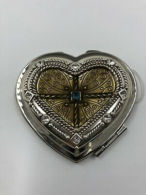 Brighton Heart Shaped METALLIC REGAL Dual Sided Mirror Compact  NWT