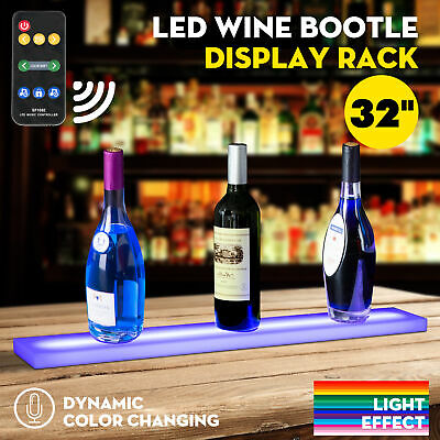 "32"" Music-Activated LED Lighted Bar Liquor Display Shelf Wine Bottle Stand Rack"
