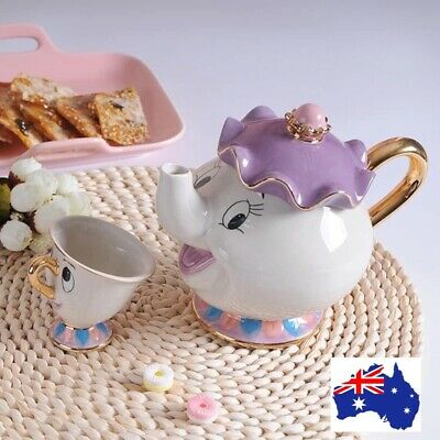 Beauty and the Beast Tea Cup Set Mrs Potts Teapot  Sugar Bowl Pot gifts Au usa