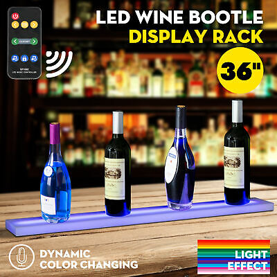 "36"" Music-Activated LED Lighted Bar Liquor Display Shelf Wine Bottle Stand Rack"