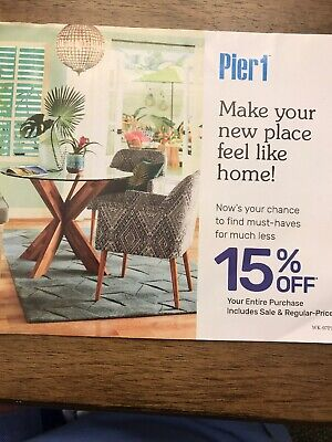 Pier 1 One Coupon 15% Off Your ENTIRE Purchase (in-store/online) Exp 9/30/19