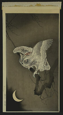 KOSON OHARA SHOSON Original Japanese Color Woodblock Print OWL & CRESCENT MOON