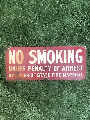 """RARE 1930s PORCELAIN """"NO SMOKING""""🚬 FIRE/YOSEMITE/FORESTRY/NATIONAL PARK-AS-IS"""