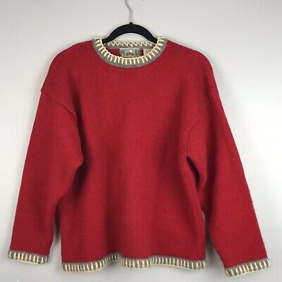 VTG EMS Eastern Mountain Sz Large Sports Red Gray Trim Crew Neck Wool Sweater