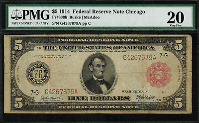 """1914 $5 Federal Reserve Note - Chicago - FR-838b - RED SEAL - PMG 20 """"Comment"""""""