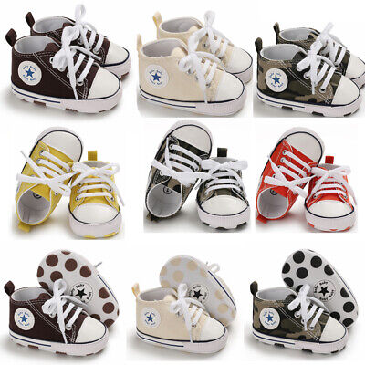 Cute Infant Kids Canvas Sneakers Baby Boy Girls Soft Sole Crib Shoes Prewalkers