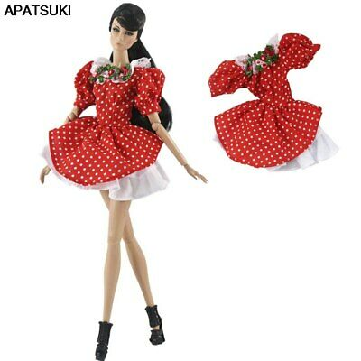 "Red Polka Doll Clothes For 11.5"" 1/6 Doll Dress Gown Short Dresses Outfits Toy"